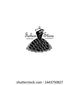 Fashion logo design template with black dress.
