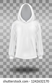 Fashion long sleeve white hooded sweatshirt mockup template. Front side view isolated on transparent background. Vector illustration.
