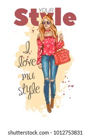 Fashion look. Beautiful young woman in stylish clothes. Fashion girl with bag in the glasses. Urban casual style. Shirt with print and ripped jeans. Fashion vector illustration. Hand drawn sketch