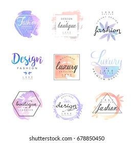 Fashion luxury boutique logo design set, colorful vector Illustrations
