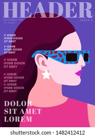 Fashion magazine cover design. Abstract portraits of young woman, side view. Long hair,  pink dress, sunglasses, earrings. Text, letters, violet background. Vector illustration