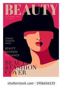 Fashion magazine cover design. Woman wearing big hat. Abstract female full face portrait, lettering, text, dark background. Vector illustration
