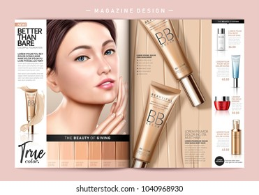 Fashion magazine template, attractive model with foundation product ads in 3d illustration, smear complexion cream background