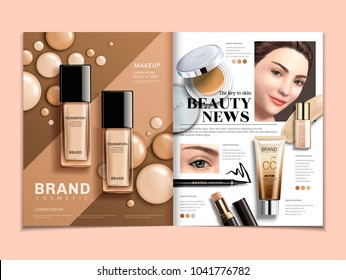 Fashion magazine template, foundation and concealer ads with elegant model in 3d illustration