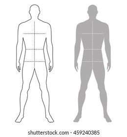 Fashion man full length outlined template figure silhouette with marked body's sizes lines (front view), vector illustration isolated on white background
