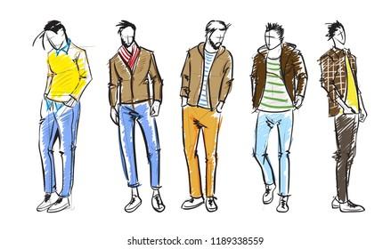 Fashion man. Fashion men sketches on a white background. Autumn men.