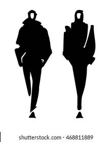 Fashion man model silhouettes hand drawn. Monochrome vector. Male fashion illustration .