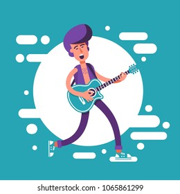 Fashion man with a psychobilly  haircut playing on acoustic guitar and sing. Cartoon illustration in flat style.