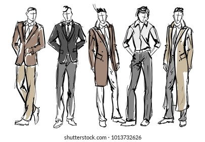 Fashion man. Set of fashionable men's sketches on a white background. Spring men.