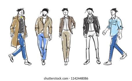 Fashion man. Set of fashionable men's sketches on a white background.