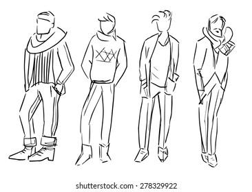fashion man vector sketch illustration