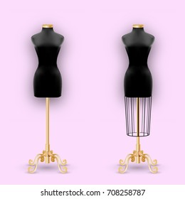 Fashion Mannequin or Dummies Black Silhouette For Sewing Women Fashionable Clothes Design Style. Dressmakers object for female body. Vector illustration