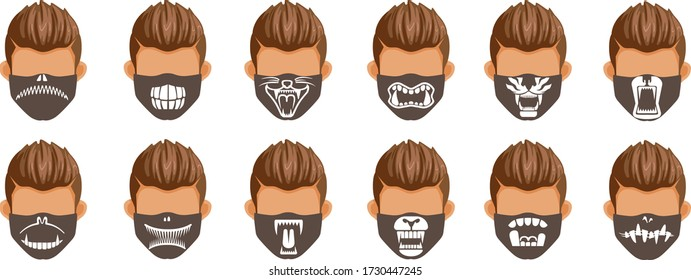 Fashion mask set. Collection of animal fangs. Draw the mouth and teeth of wild animals. Fashion styles for men black and white print pattern on fabric. Halloween fashion. Funny and interesting.