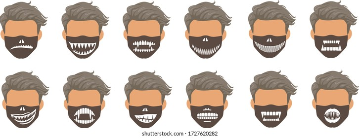 Fashion mask set. Lips, mouth, tongue, teeth collection, fashion style masks for men. Pattern for printing in black white on fabric. Halloween fashion, fangs of ghosts or demons. Funny and interesting