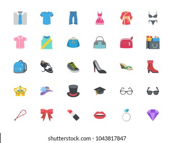 Fashion, menswear, womenswear, accessories, ring, hat, shirts, wears, apparels, dresses, clothes vector illustration flat style symbol, shopping emoticons, emojis, icons set, collection, pack, sticker