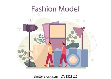 Fashion model concept. Man and woman represent new clothes at a fashion show and photoshoot. Fashion industry worker. Isolated vector illustration