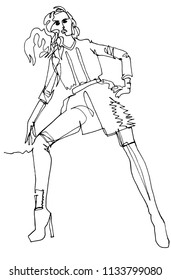 A fashion model in a dynamic pose demonstrates a fashionable outfit, jacket, long boots, fluttering hair, diagonal position of the figure, a hand on the belt, a minimal illustration, continuous line