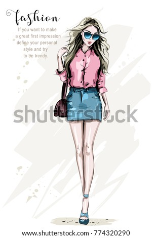 76ab70f862a Fashion model posing. Hand drawn stylish woman in fashion clothes. Beautiful  young woman with bag. Cute girl in sunglasses. Sketch. - Vector