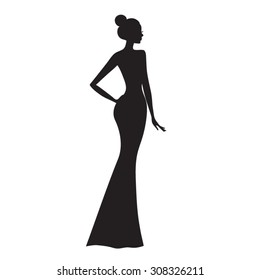 Fashion model .  Silhouette of beautiful woman vector illustration.