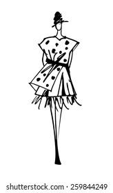 Fashion model silhouette hand drawn sketch