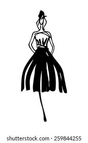 Fashion model silhouette hand drawn sketch
