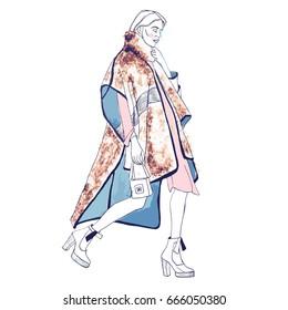 Fashion model. Sketch. Handdrawn Fashion illustration EPS 10