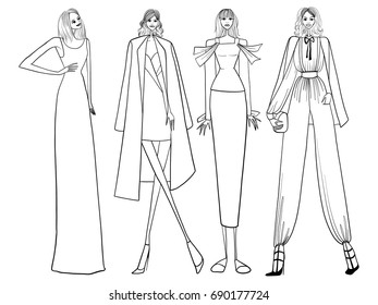 silhouettes african men women traditional clothing stock vector 1500s Fashion fashion models lines girls clothes vector illustration