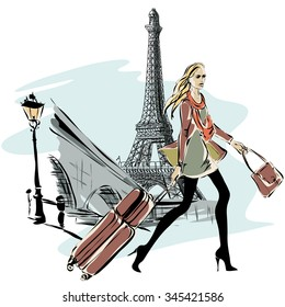 Fashion models with luggage in sketch style and Paris city background. Hand drawn vector illustration