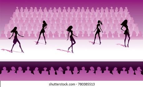 Fashion models make catwalk show - vector illustration