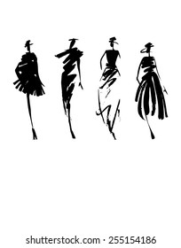 Fashion models silhouette hand drawn