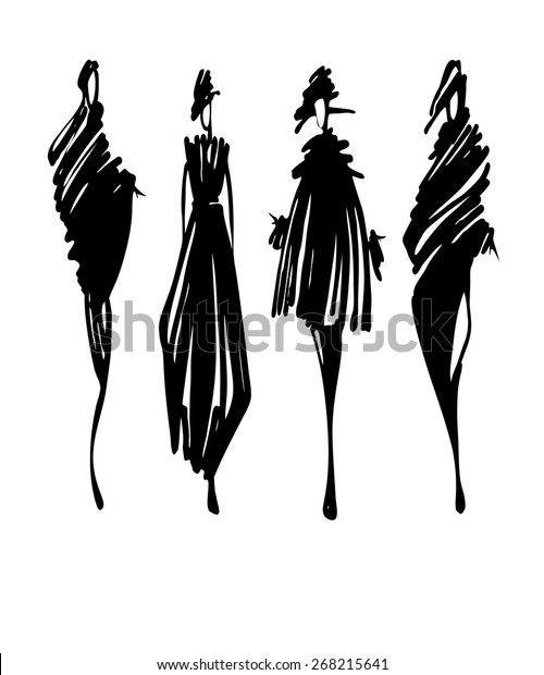 Fashion Models Silhouettes Hand Drawn Vector Stock Vector