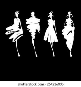 Fashion models silhouettes sketch hand drawn  , vector illustration