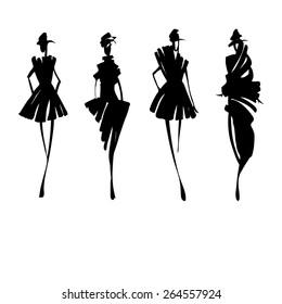 Fashion models silhouettes , vector illustration