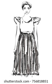Fashion models sketch. Cartoon girl. Dress