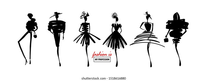 Fashion models sketch hand drawn silhouette pop art. Stylized fashion podium silhouettes isolated on white show dress. Vector fashion illustration set.
