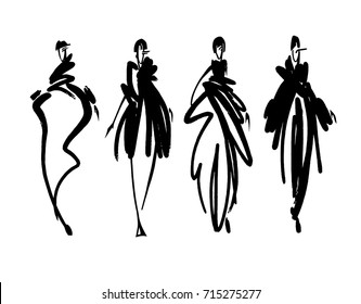 Fashion models sketch hand drawn , stylized silhouettes isolated.Vector fashion illustration set.