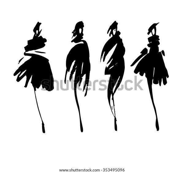 Fashion Models Sketch Hand Drawn Stylized Stock Vector