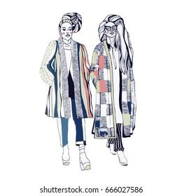 Fashion models. Sketch. Handdrawn Fashion illustration EPS 10