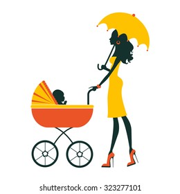 Fashion mom with baby in pram under umbrella. Vector illustration