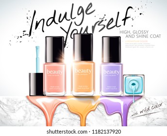 Fashion nail lacquer ads with colorful liquid dripping down from marble stone wall, 3d illustration