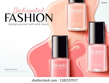 Fashion nail lacquer ads with pink series product in flat lay angle, 3d illustration