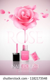 Fashion nail lacquer poster with glitter rose and petals flying in the air, 3d illustration