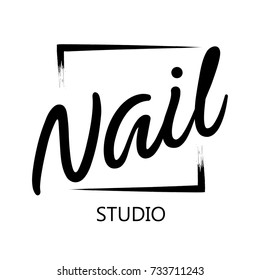 Fashion nails logo, symbol. Beauty manicure salon.