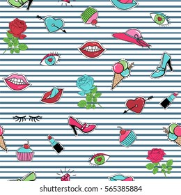Fashion patch badge sticker pin stitched seamless pattern on grey stripes background. Lips, heart, eyes, rose flower, popsicle, lipstick, shoes, sweets, cake, ice cream