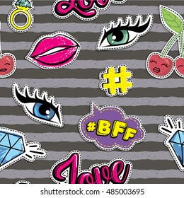 Fashion patch badges. Abstract seamless pattern. Lips, speech bubbles, eyes, other elements on repeated stripes background.