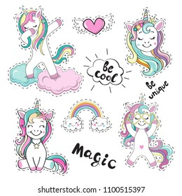 Fashion Patch Badges with beautiful unicorns and the inscription be cool on a white background