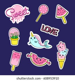 Fashion patch badges with candies, watermelon, love, cactus, seal, ice cream, kittens, cats, eyes and other. Very large set of girlish and boyish stickers, patches in cartoon isolated