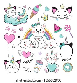 Fashion Patch Badges with cat unicorn and girl items collection