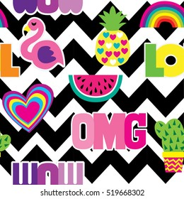 """Fashion patch badges in cool style. Abstract seamless pattern. Colorful Hearts,cactus, flamingo, pineapple, rainbow, watermelon, words """"wow"""", """"omg"""", """"lol"""" on repeated stripes background."""