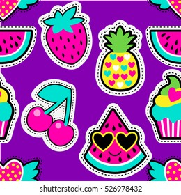 Fashion patch badges in cool style.Abstract seamless pattern. Colorful fruit, hearts, watermelon, cherry,pineapple, strawberry,cake on repeated stripes background.Abstract colorful seamless wallpaper.